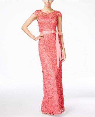 Adrianna Papell Cap-Sleeve Illusion Lace Gown $229 thestylecure.com