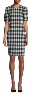 Calvin Klein Puff-Sleeve Check Sheath Dress