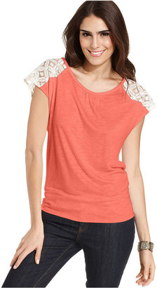 Amy Byer Top, Cap-Sleeve Lace Tee