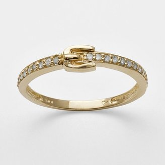 Layers of luxury 10k gold .17-ct. t.w. diamond buckle stack ring