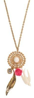 Gold Medallion Rose Bird Necklace