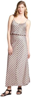 The Vanity Room coral striped stretch jersey spaghetti strap maxi dress