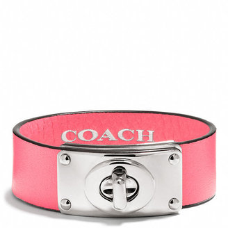 Coach Small Leather Turnlock Plaque Bracelet