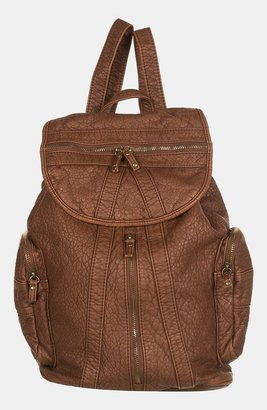 Topshop Multi Zip Faux Leather Backpack