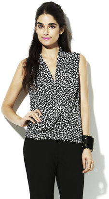 Vince Camuto Sleeveless Wrap Leopard Blouse
