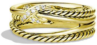 David Yurman X Crossover Ring with Diamonds in Gold