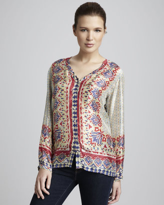 Johnny Was Collection Border-Print Blouse