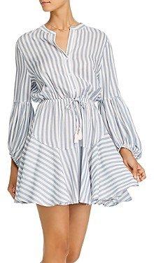 Aqua Striped Balloon-Sleeve Mini Dress - 100% Exclusive
