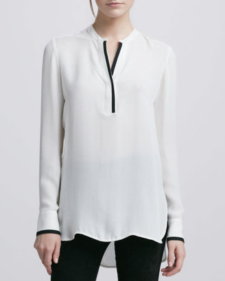 Vince Tipped Contrast Blouse, Ivory/Black