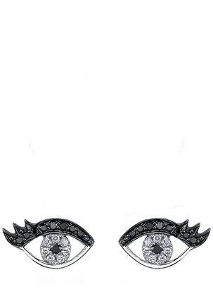 Sydney Evan Small Evil Eye Eyelash Stud Earrings