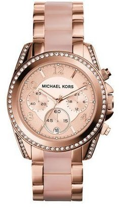 Michael Kors Mid-Size Rose Golden Stainless Steel Blair Chronograph Glitz Watch $295 thestylecure.com