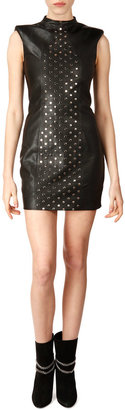 Saint Laurent Sleeveless High-Neck Studded Leather Dress