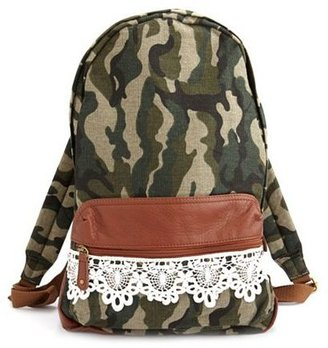 Camo Crochet Trim Print Backpack