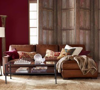 Pottery Barn Turner Square Arm Leather Sofa With Chaise Sectional