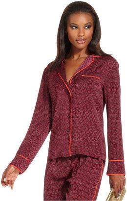 Rachel Roy Top, Long-Sleeve V-Neck Printed Pajama Shirt