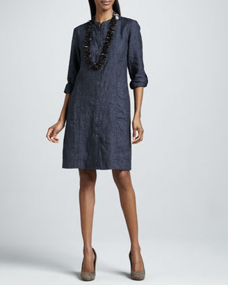 Eileen Fisher Washed Linen Snap-Button Dress, Petite