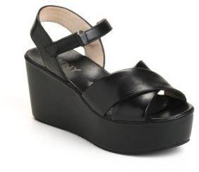 DKNY Saige Leather Platform Wedge Sandals