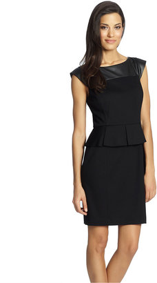 Cynthia Steffe Cap Sleeve Peplum Dress with Leather Accent