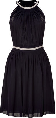 L'Agence LAgence Black Shirred A-Line Pleated Dress