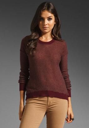 Enza Costa Cashmere Reverse Stripe Sweater in Wine/Pebble