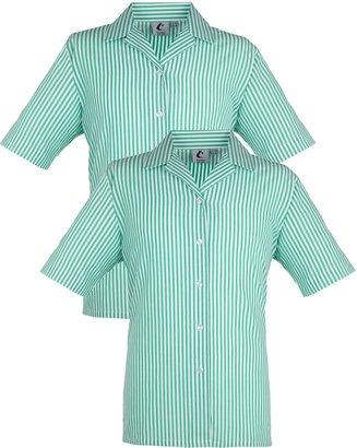 Unbranded Girls' School Blouse, Pack of 2, Green/White Stripe
