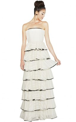 Alice + Olivia Aurora Strapless Long Ruffle Tiered Gown