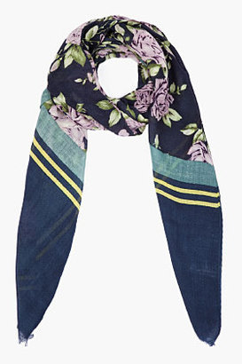 Rag and Bone RAG & BONE navy Uzbeck rose Scarf