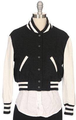 RON HERMAN Perforated Leather Sleeve Baseball Jacket