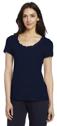 Nautica Sleepwear Women's Short Sleeve Ruffle Sleep Tee
