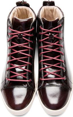 Diesel Deep Burgundy Patent Brushed Diamond High-Top Sneakers