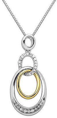 Lord & Taylor Sterling Silver with 14Kt. Yellow Gold & Diamond Pendant
