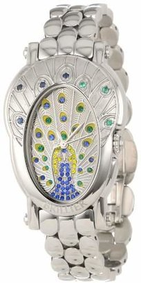 Brillier Women's 18-18 Royal Plume Peacock Inspired Swiss Genuine Blue Sapphires and Green Emeralds Watch