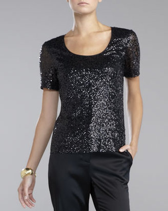 St. John Sequined Tulle Blouse, Caviar