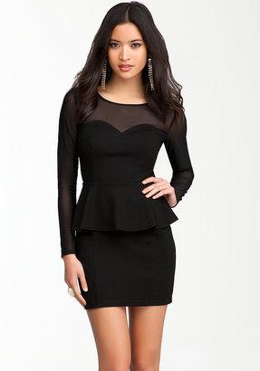 Bebe Sweetheart Peplum Mesh Dress - ONLINE EXCLUSIVE