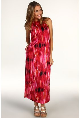Anne Klein Petite - Petite Brushstroke Print Maxi Dress (Rouge Multi) - Apparel