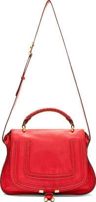Chloé Red Grained Leather Marcie Medium Satchel