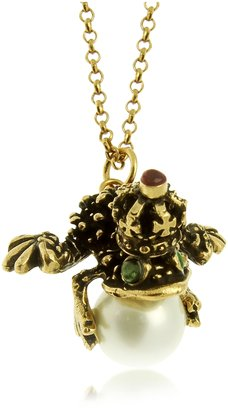 Alcozer & J Glass Pearl, Brass and Emerald Frog Pendant Necklace