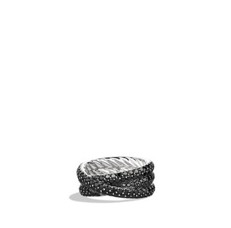 David Yurman Crossover Ring with Black Diamonds in White Gold