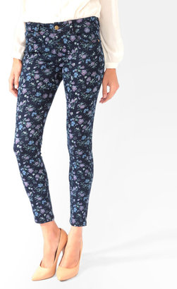 Forever 21 Stretchy Floral Denim Skinnies