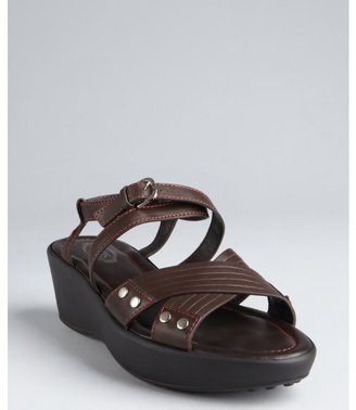 Tod's chocolate and cherry leather strappy wedge sandals