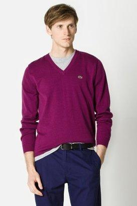 Lacoste Cotton Jersey Long Sleeve V-neck Sweater