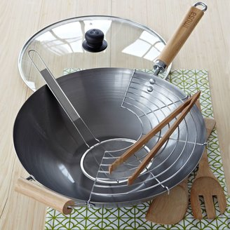 Imusa 7-Piece Natural Carbon Steel Wok Set