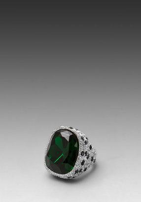 Kenneth Jay Lane Emerald Center and Jaguar Rhinestone Ring