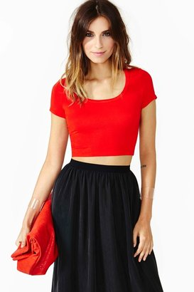 Nasty Gal Short Stop Crop Tee - Red