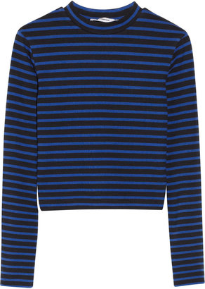 Alexander Wang Cropped striped stretch-cotton top