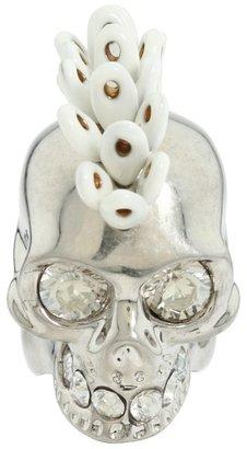 Alexander McQueen Skull Cocktail Ring Ottone/Smalto