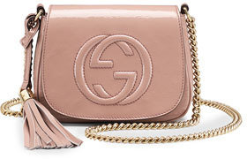 Gucci Soho Small Patent Leather Chain Shoulder Bag, Nude