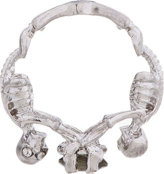 Alexander McQueen Silver & Crystal Twin Skeletons Ring