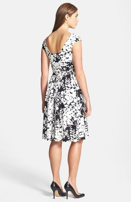 Maggy London Floral Print Jersey Peasant Top Dress