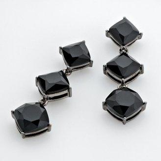 Trifari® jet-tone black bead drop earrings